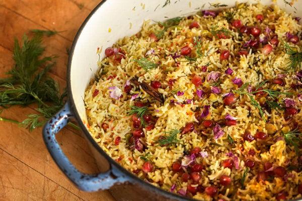 برنج ایرانی با گل محمدی   جوشونده